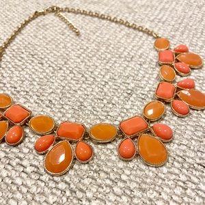 Francesca's Necklace - Coral Stones, Gold Finish